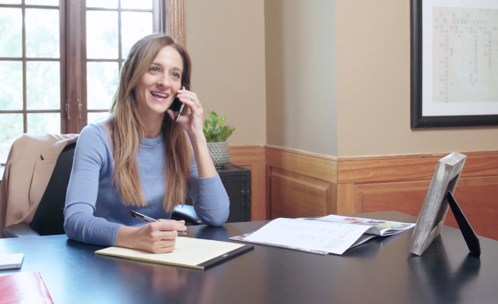 business woman working phone call